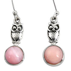 5.22cts natural pink opal 925 sterling silver owl earrings jewelry d38433