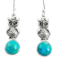 Clearance Sale- 6.82cts natural green chrysocolla 925 sterling silver owl earrings d38435