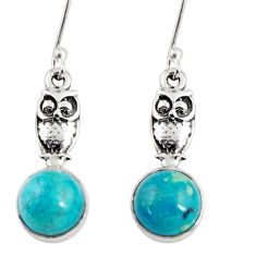 Clearance Sale- 925 sterling silver 5.87cts natural green chrysocolla owl earrings d38436
