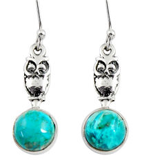 5.92cts natural green chrysocolla 925 sterling silver owl earrings d38437