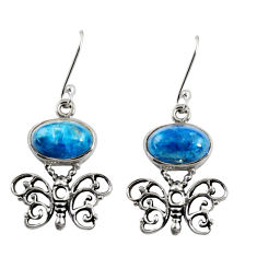 Clearance Sale- 8.00cts natural blue apatite (madagascar) 925 silver butterfly earrings d38439