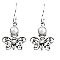 Clearance Sale- 925 sterling silver 2.52cts natural white pearl butterfly earrings d38440