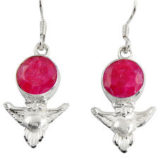 Clearance Sale- 8.05cts natural red ruby 925 sterling silver owl earrings jewelry d38443