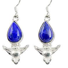 blue lapis lazuli 925 sterling silver owl earrings d38447