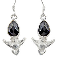 5.24cts natural black onyx 925 sterling silver owl earrings jewelry d38450