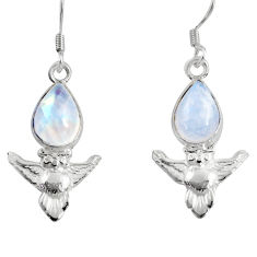 Clearance Sale- 5.23cts natural rainbow moonstone 925 sterling silver owl earrings d38451