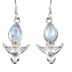 925 sterling silver 4.80cts natural rainbow moonstone owl earrings d38452