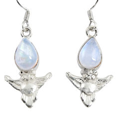Clearance Sale- 5.23cts natural rainbow moonstone 925 sterling silver owl earrings d38455