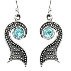 Clearance Sale- 1.87cts natural blue topaz 925 sterling silver dangle earrings jewelry d38462