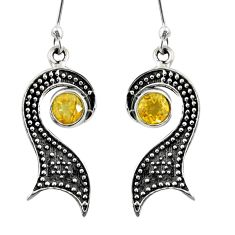 Clearance Sale- 925 sterling silver 3.61cts natural yellow citrine dangle earrings d38464