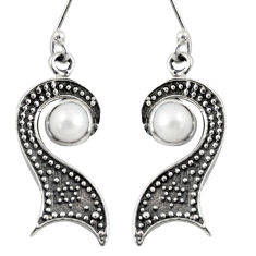 Clearance Sale- 2.44cts natural white pearl 925 sterling silver dangle earrings jewelry d38465