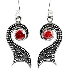 925 sterling silver 1.70cts natural red garnet dangle earrings jewelry d38471
