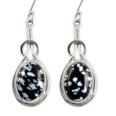 11.89cts natural black australian obsidian 925 silver dangle earrings d38476