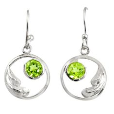 Clearance Sale- 925 sterling silver 1.43cts natural green peridot dangle earrings jewelry d38484