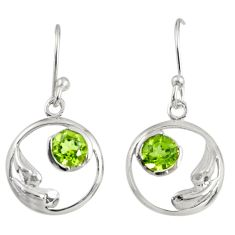 Clearance Sale- 1.42cts natural green peridot 925 sterling silver dangle earrings jewelry d38485
