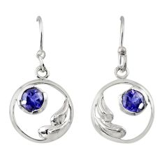 Clearance Sale- 925 sterling silver 1.44cts natural blue iolite dangle earrings jewelry d38487