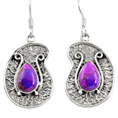 Clearance Sale- 5.30cts purple copper turquoise 925 sterling silver dangle earrings d38502