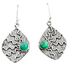 Clearance Sale- 925 silver 2.28cts green arizona mohave turquoise dangle earrings jewelry d38504