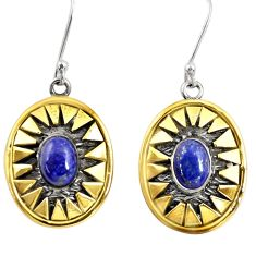 Clearance Sale- 925 silver 4.54cts victorian natural blue lapis lazuli two tone earrings d38516
