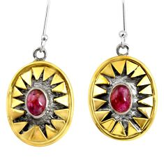 925 silver 3.77cts victorian natural pink tourmaline two tone earrings d38519