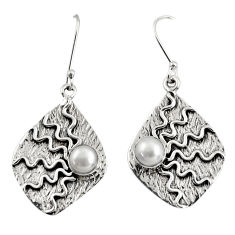 2.82cts natural white pearl 925 sterling silver dangle earrings jewelry d38521