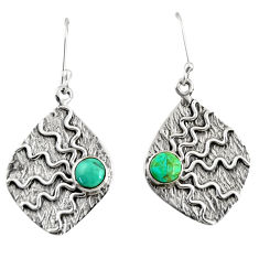 925 silver 1.81cts green arizona mohave turquoise dangle earrings jewelry d38524