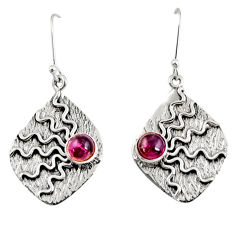 Clearance Sale- 1.89cts natural red garnet 925 sterling silver dangle earrings jewelry d38526
