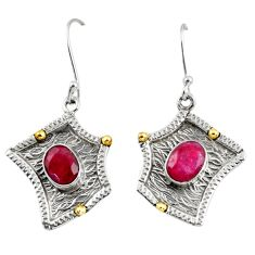 Clearance Sale- 925 silver 4.71cts victorian natural red ruby two tone dangle earrings d38530