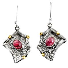 Clearance Sale- 4.38cts victorian natural red garnet 925 silver two tone dangle earrings d38531