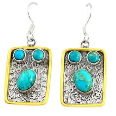 7.51cts victorian arizona mohave turquoise 925 silver two tone earrings d38533