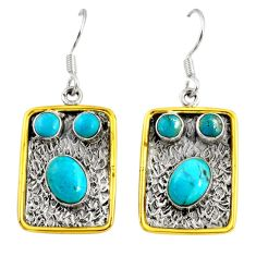 7.55cts victorian green arizona mohave turquoise silver two tone earrings d38534