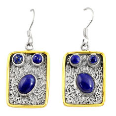Clearance Sale- 7.78cts victorian natural blue lapis lazuli 925 silver two tone earrings d38539