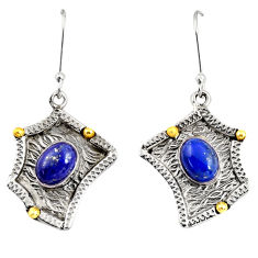 Clearance Sale- 4.21cts victorian natural blue lapis lazuli 925 silver two tone earrings d38543