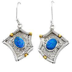 Clearance Sale- Victorian natural doublet opal australian silver two tone dangle earrings d38546