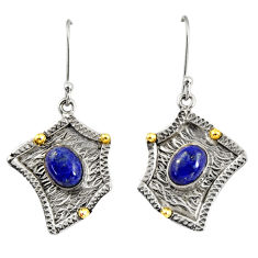 Clearance Sale- 4.22cts victorian natural lapis lazuli silver two tone dangle earrings d38549