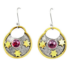 Clearance Sale- 925 silver 2.50cts victorian natural red garnet two tone dangle earrings d38554