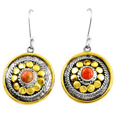 Clearance Sale- 1.82cts victorian red copper turquoise silver two tone dangle earrings d38556