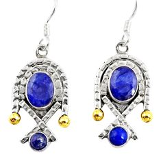 Clearance Sale- 5.18cts victorian natural blue sapphire silver two tone dangle earrings d38558
