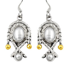 Clearance Sale- 5.19cts victorian natural white pearl 925 silver two tone dangle earrings d38559