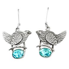 925 sterling silver 4.55cts natural blue topaz dangle earrings jewelry d38560