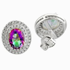 Multicolor rainbow topaz topaz 925 sterling silver stud earrings