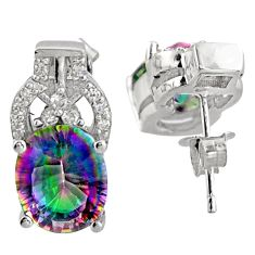 rainbow topaz studs-  925 sterling silver earrings