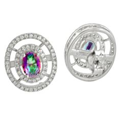 Wholesale price rainbow topaz topaz 925 sterling silver stud earrings