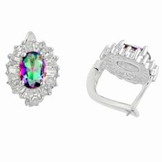 Rainbow topaz 925 sterling silver stud earrings - free shipping worldwide