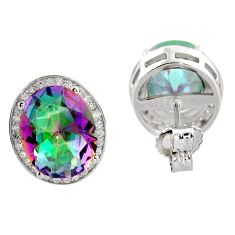 Multicolor rainbow topaz 925 sterling silver stud earrings - reseller welcome