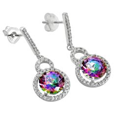 Fashion trend-  multicolor rainbow topaz 925 sterling silver dangle earrings