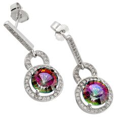 Rainbow topaz 925 sterling silver dangle earrings wholesale jewelry
