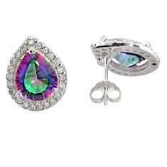 Pear rainbow topaz 925 sterling silver stud earrings