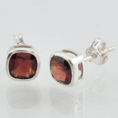 garnet studs natural red gemstone 925 sterling silver square earrings jewelry