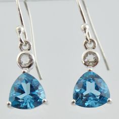 4.52cts natural blue topaz trillion 925 sterling silver dangle earrings jewelry